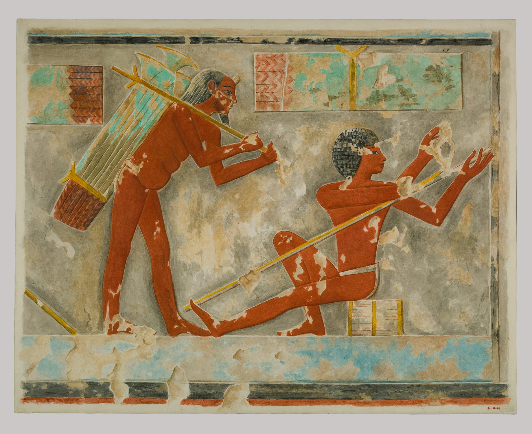 This facsimile painting copies a detail from a scene of men harvesting and working papyrus in the tomb of Puyemre (TT 39) at Thebes. Facsimile 30.4.11 illustrates another part of this scene. https://www.metmuseum.org/toah/works-of-art/30.4.10/